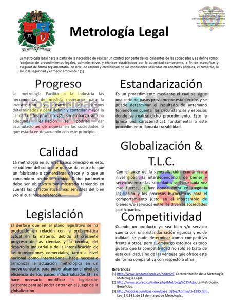 Metrología Legal Progreso Estandarización Globalización & T.L.C.