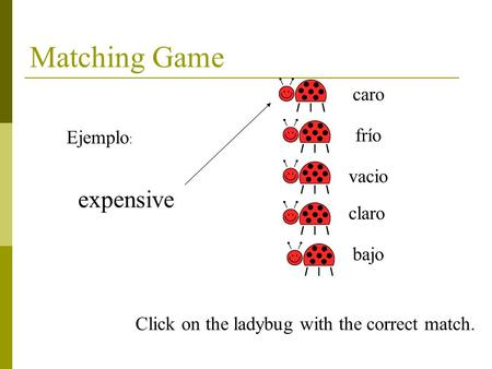 Matching Game expensive caro frío vacio claro bajo Ejemplo : Click on the ladybug with the correct match.