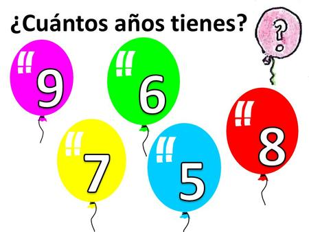 ¿Cuántos años tienes? 9 6 8 7 5 Slide giving a clue about the aim of the lesson.