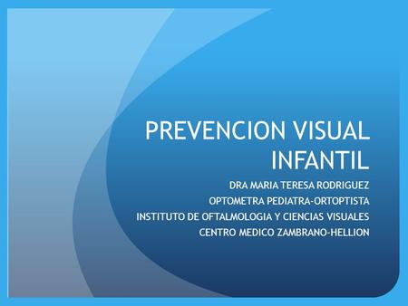 PREVENCION VISUAL INFANTIL