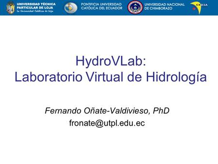 HydroVLab: Laboratorio Virtual de Hidrología