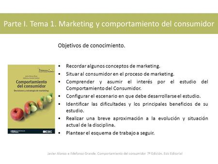 Parte I. Tema 1. Marketing y comportamiento del consumidor