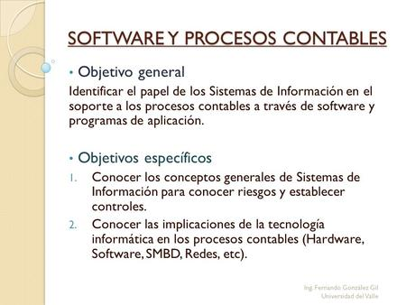 SOFTWARE Y PROCESOS CONTABLES