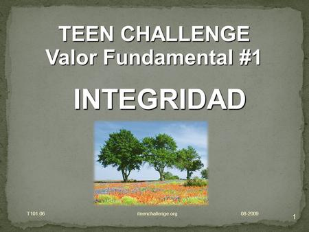 1 TEEN CHALLENGE Valor Fundamental #1 INTEGRIDAD T101.06 iteenchallenge.org 08-2009.