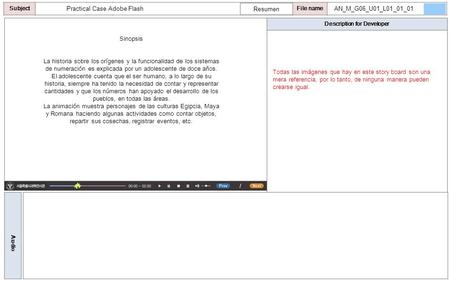 Description for Developer Audio SubjectLO File name Practical Case Adobe Flash Todas las imágenes que hay en este story board son una mera referencia,