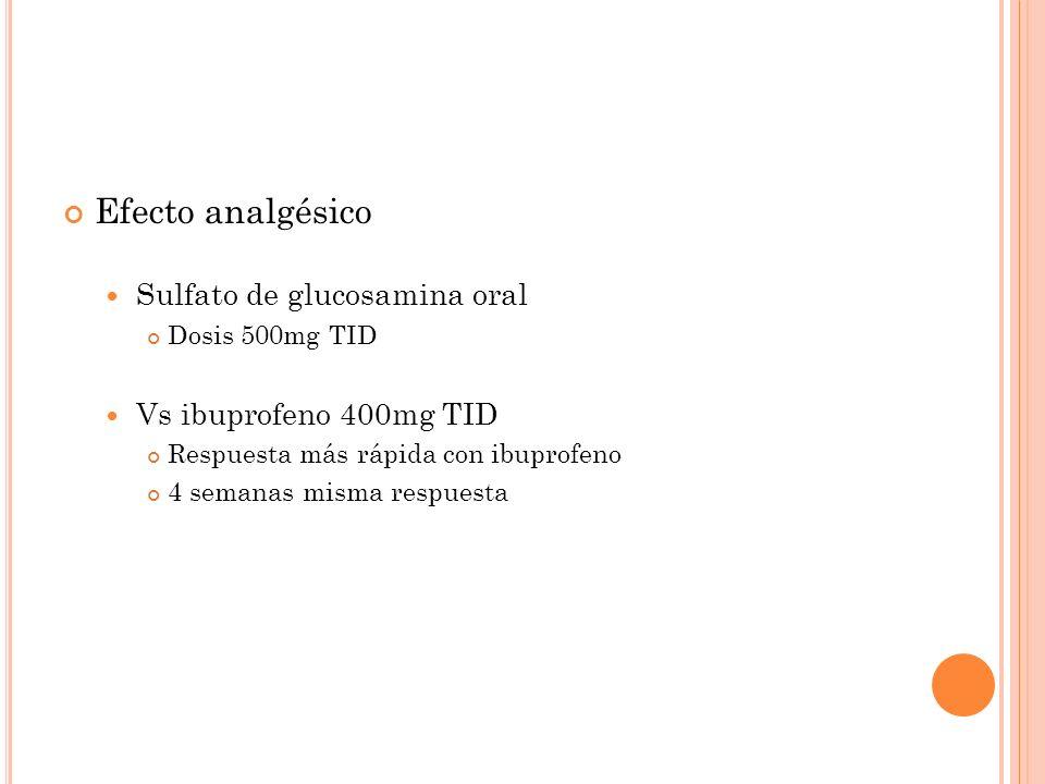 S ULFATO DE CONDROITINA Glucosaminoglucano Glucosamina ligada a azúcar Mecanismo de acción desconocido Dosis 400mg TID Utilizan menos AINE