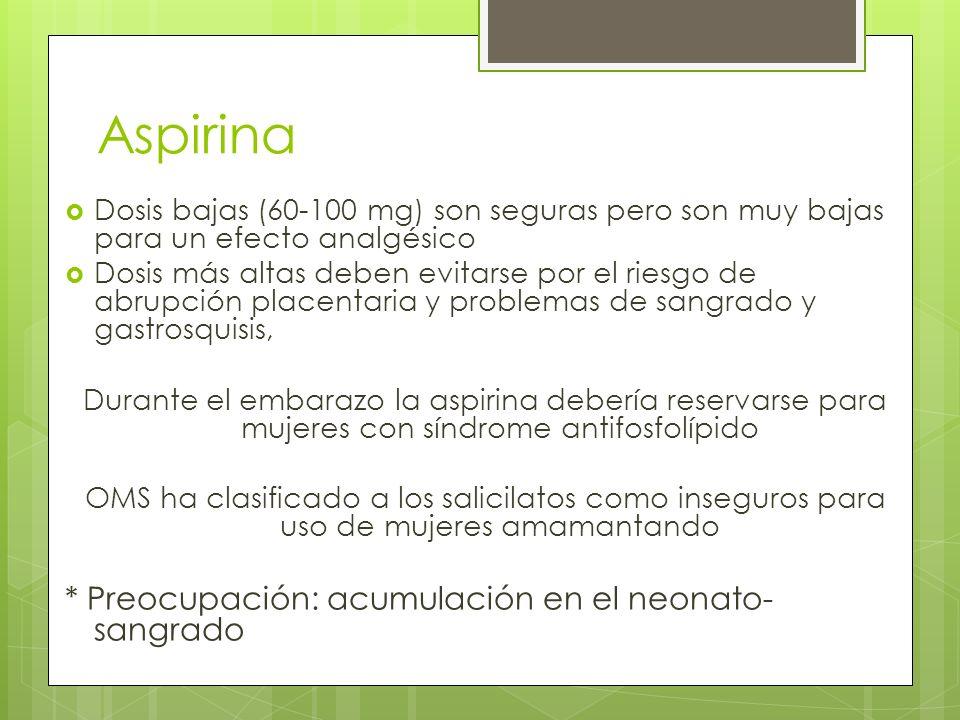 Aspirina Tx corto: pocos efectos dañinos Metabolito en la leche no es el que causa anormalidades de agregación plaquetaria (no preocupación por el sangrado a dosis nl) Tx crónico altas dosis: recordar que el acido salicílico tiende a acumularse en los infantes.