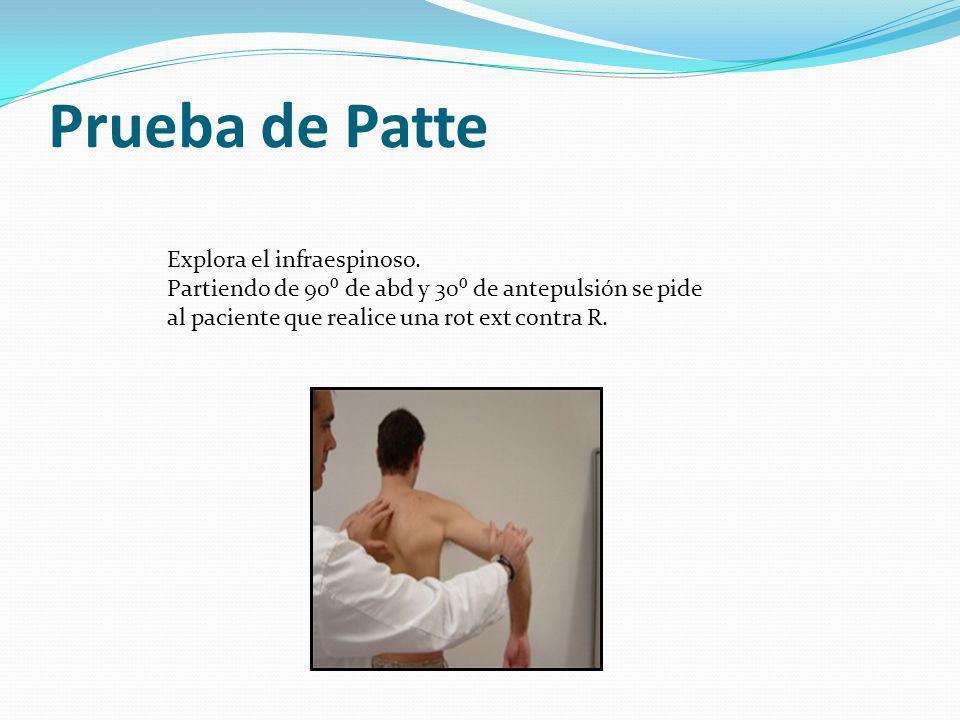 Probabilidades arco doloroso Probabilidad rotura maniobra brazo caído total manguito maniobra de Patte es del 91%.