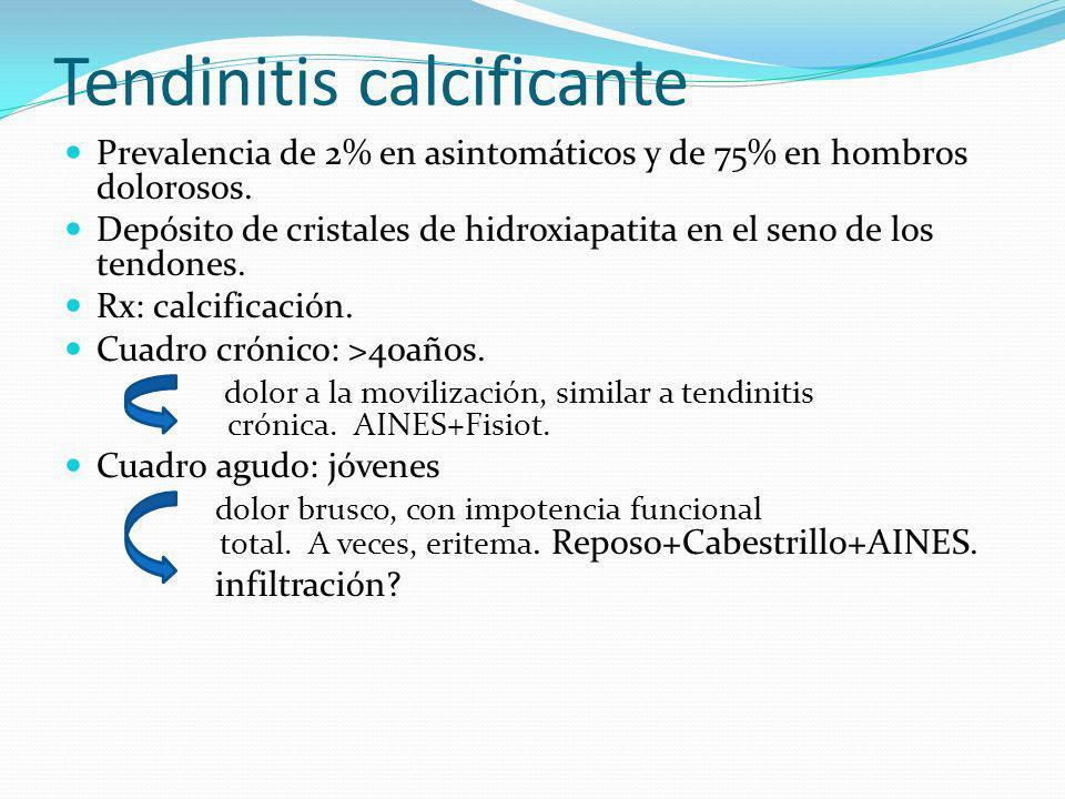 Capsulitis adhesiva o retráctil Limitación dolorosa en todos los planos tanto activa como pasiva.
