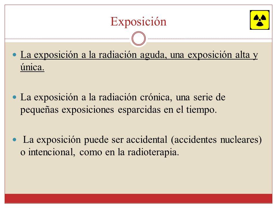 Causas Exposición accidental a dosis altas de radiación: accidentes en plantas de energía nuclear.