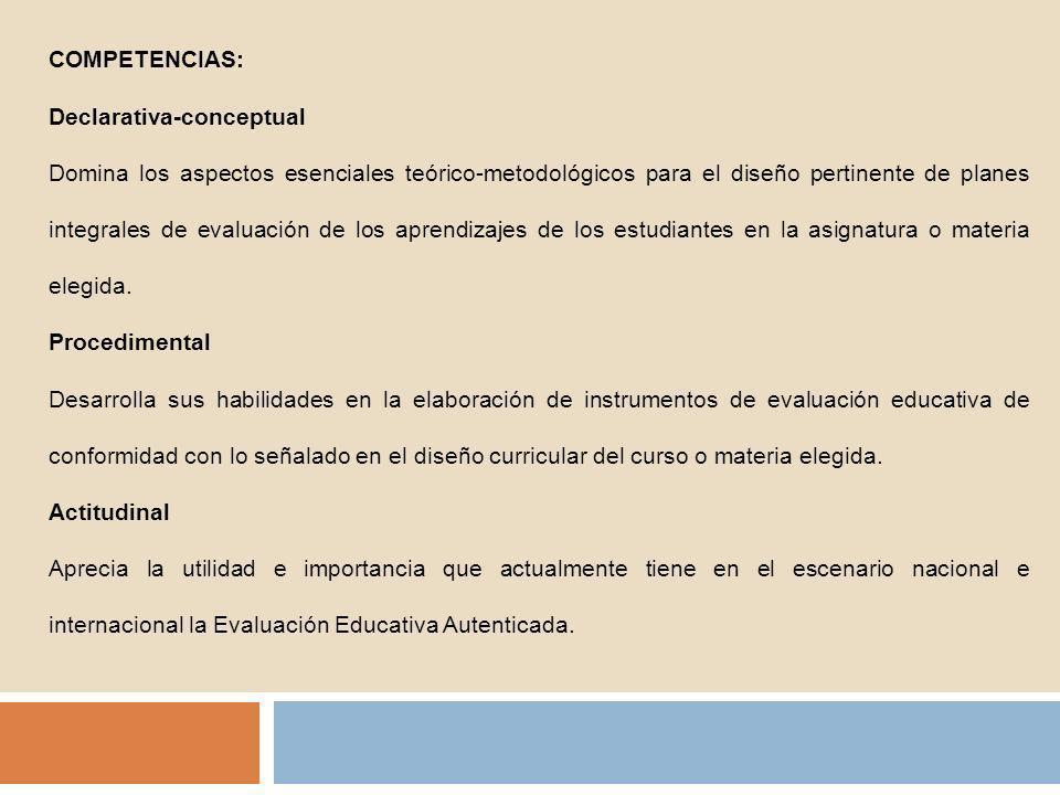 1.Conceptos básicos sobre evaluación educativa 2.Fines: la mejora de procesos y resultados 3.Principios, objetivos y criterios de la evaluación educativa 4.Ámbitos y niveles de la evaluación: Seguimiento y monitoreo 5.La evaluación de los aprendizajes 6.La evaluación en el sistema didáctico 7.Finalidades y objetivos de la evaluación de aprendizaje Acreditación y Certificación Calificación 8.
