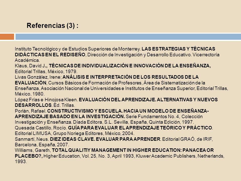 Sitios de interés: EVALUACIÓN DEL APRENDIZAJE: TENDENCIAS Y REFLEXIÓN CRÍTICA http://bvs.sld.cu/revistas/ems/vol15_1_01/ems10101.htm REVISTA ELECTRÓNICA DE INVESTIGACÍÓN Y EVALUACIÓN EDUCATIVA http://www.uv.es/RELIEVE/ REVISTA IBEROAMERICANA DE EVALUACIÓN EDUCATIVA http://www.rinace.net/riee/ REVISTAS ELECTRÓNICAS RELACIONADAS CON EVALUACIÓN E INTERVENCIÓN PSICOPEDAGÓGICA http://roble.pntic.mec.es/~agarci19/Enlaces/revistas.htm
