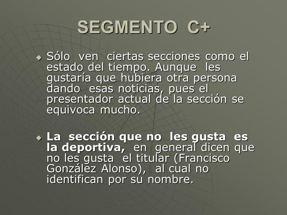 SEGMENTO D+ Es el segmento que ve con más regularidad los noticieros.