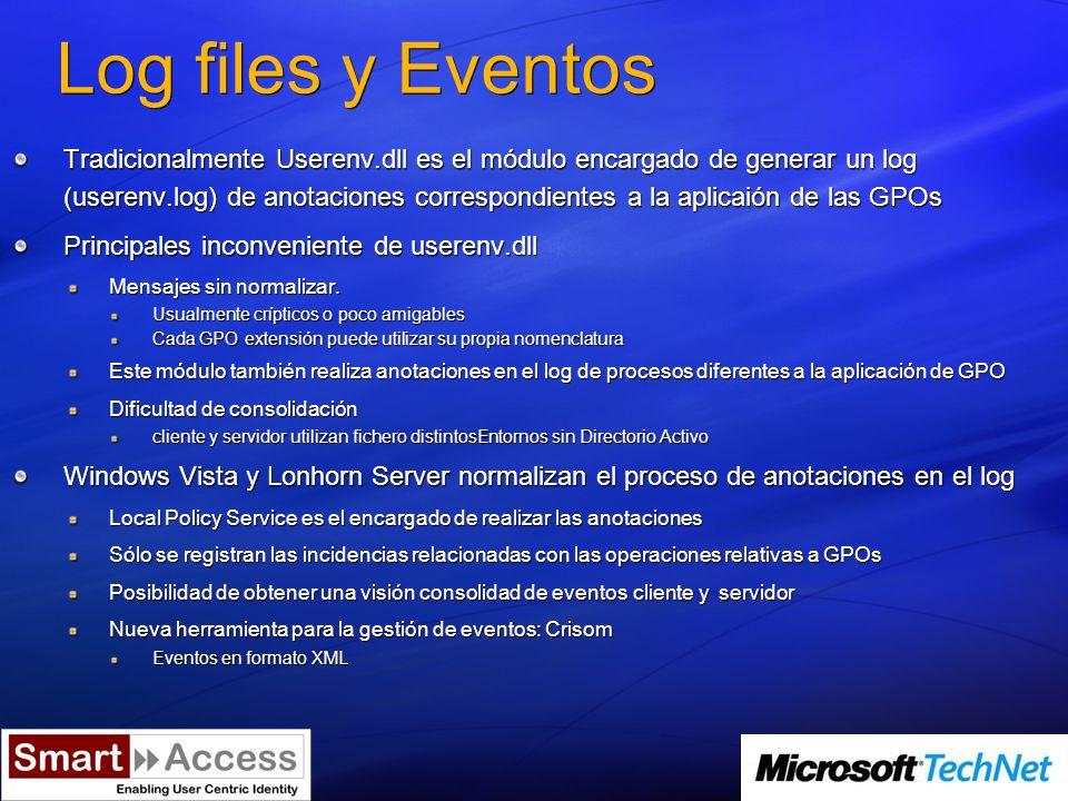 Plantillas Administrativas Nuevo formato basado en XML Ficheros con extensión.ADMX Únicamente soportado por Windows Vista Longhorn Server Los tradicionales.ADM siguen funcionando Soporte multilenguaje Almacenamiento de ADMX en el Central Store Carpeta de SYSVOL