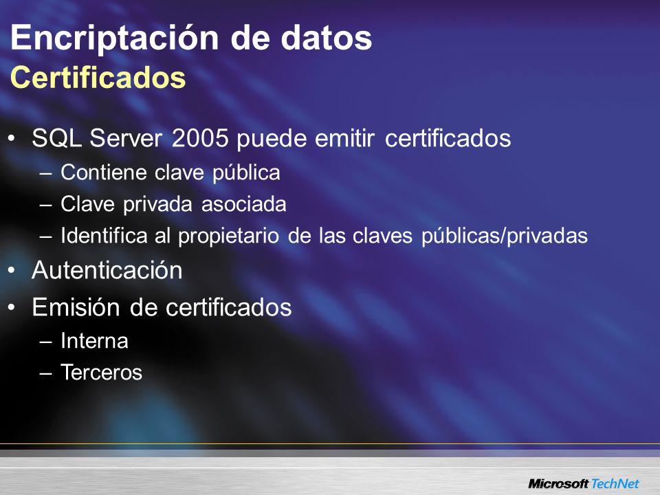 Encriptación de datos Certificados Privada El certificado se hace disponible o se distribuye a los socios de negocios de comunicación El certificado contiene la clave pública e identifica el propietario de la clave Certificado