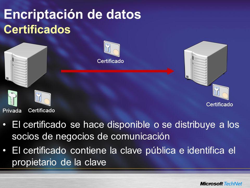 Encriptación de datos Certificados Los datos encriptados con la clave pública a partir del certificado Privada El certificado identifica al propietario del par de claves pública/privada Sólo el propietario de la clave privada puede desencriptar los datos Certificado