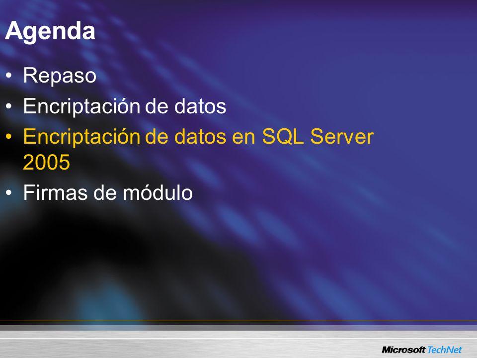 Encriptación de datos en SQL Server 2005 Jerarquía de claves de SQL Server 2005 API para protección de datos de Windows Clave maestra del servicio de SQL Server Clave maestra de la base de datos Contraseña Certificado público/clave privada Contraseña Clave simétrica