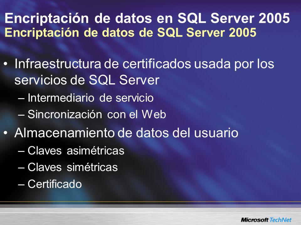 Encriptación de datos en SQL Server 2005 Encriptar los datos del usuario Las claves del usuario se almacenan dentro de la base de datos Privada Certificado Claves y certificados creados y asignados al principal Se almacenan en la base de datos y están protegidos con la clave maestra de la base de datos Privada Certificado Simétrica