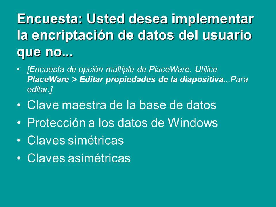 Repaso Encriptación de datos Usted desea implementar la encriptación de datos del usuario que no requiera el ingreso de contraseñas adicionales.