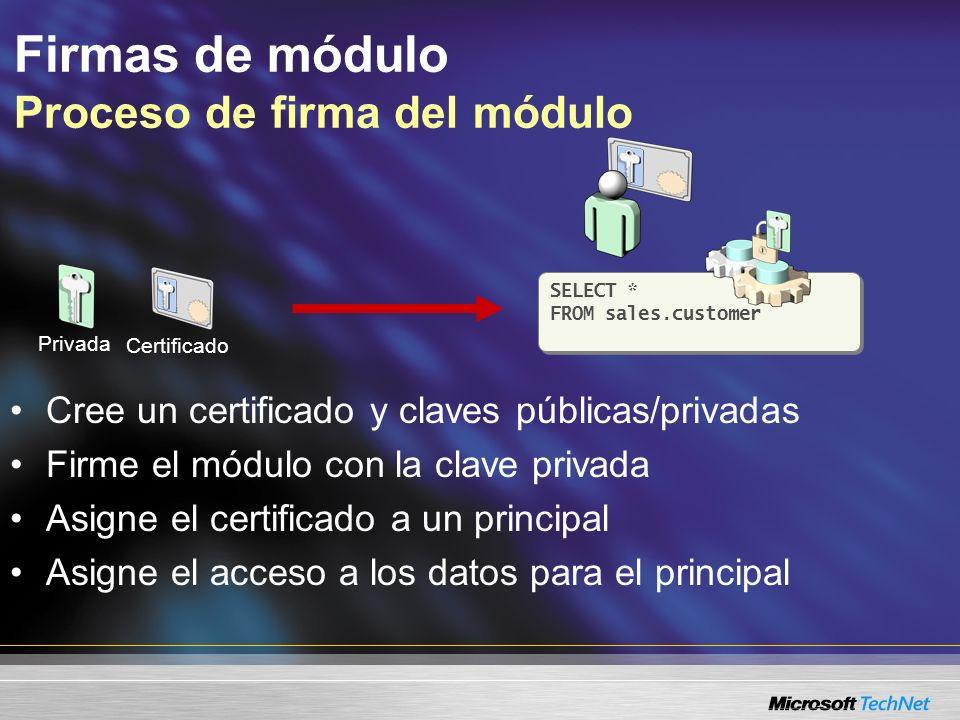 Firmas de módulo Proceso de firma del módulo SELECT * FROM sales.customer SELECT * FROM sales.customer El principal ejecuta el módulo Se utiliza la clave pública para verificar la firma de la clave privada Se agrega el certificado temporalmente al token de acceso al principal