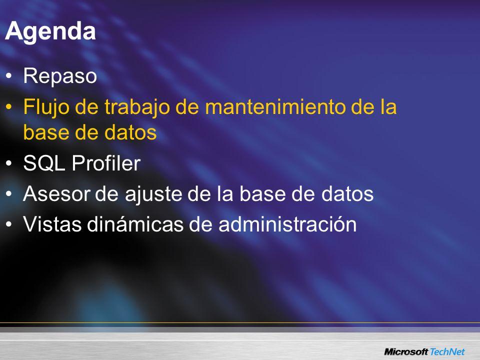 Flujo de trabajo de mantenimiento de la base de datos Asistente para el plan de mantenimiento Herramienta gráfica para generar planes básicos y avanzados