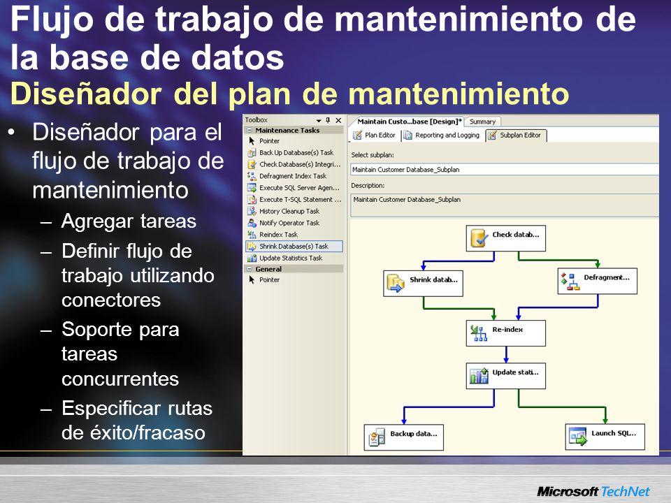 Flujo de trabajo de mantenimiento de la base de datos Editor de tareas Establecer propiedades de la tareas –Por ejemplo, seleccionar la base de datos Ver T-SQL