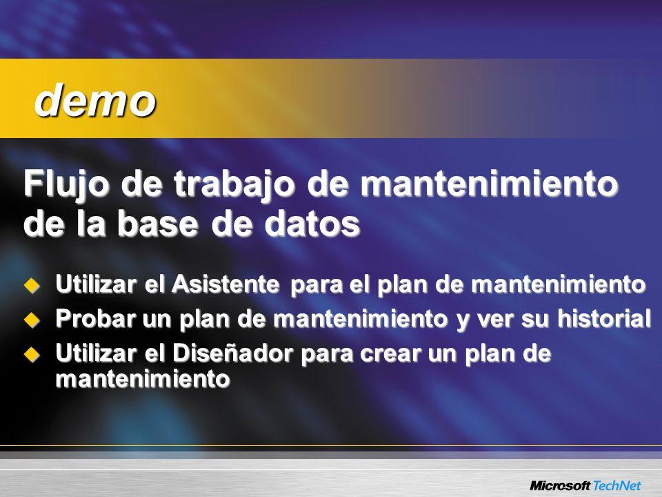 Consulta: Un plan de mantenimiento se ejecuta con éxito cuando se realiza man...