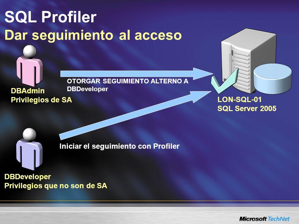 SQL Profiler Dar seguimiento a los ciclos de bloqueo Eventos –Cadena de interbloqueo –Gráfica de interbloqueo –Interbloqueo (selección de victimas) Guardar como XML