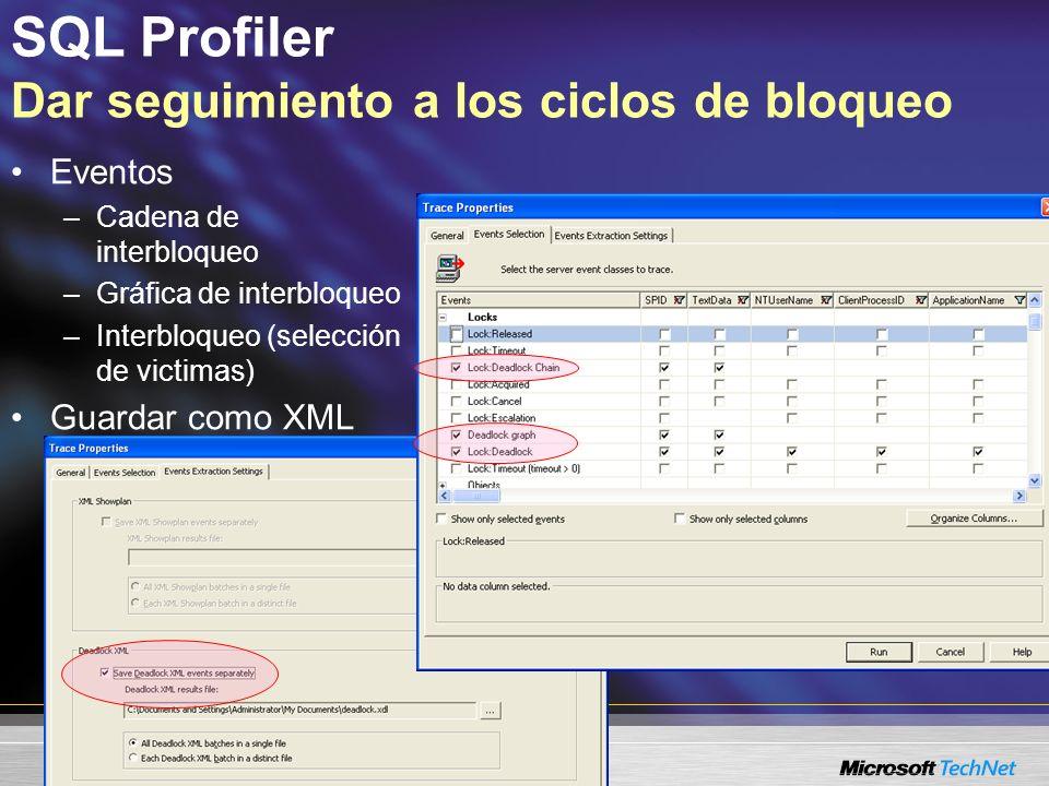 SQL Profiler Analizar los ciclos de interbloqueo Evento de la gráfica de interbloqueo –Datos clave que identifican la causa del interbloqueo