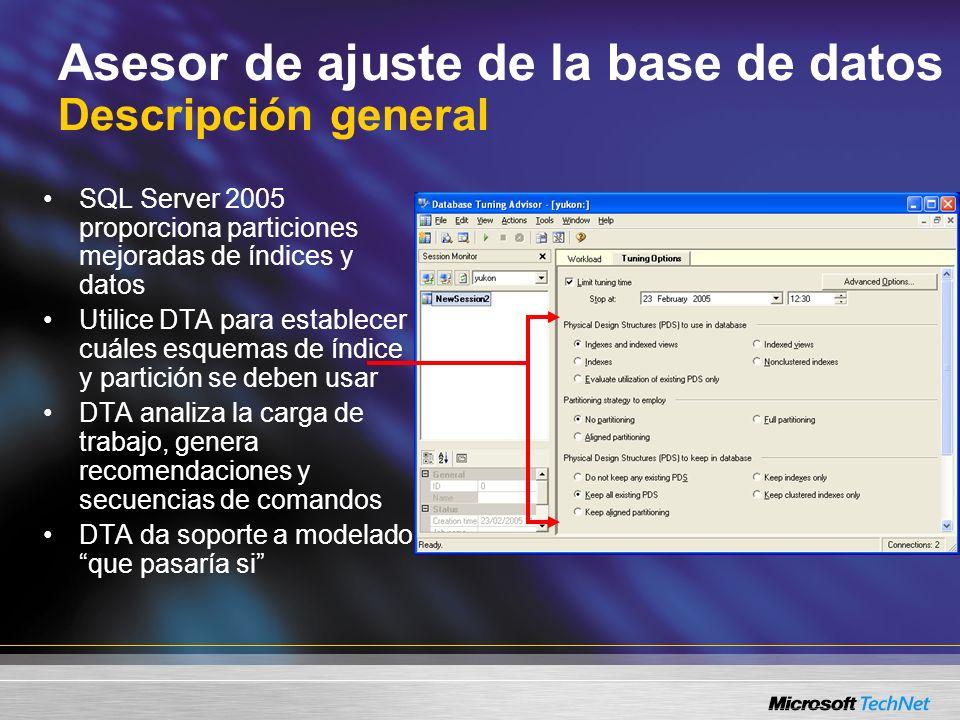 Asesor de ajuste de la base de datos Funciones nuevas Ajuste de fechas y horarios Ajuste entre bases de datos Resultado XML