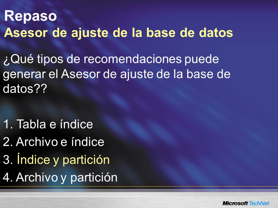 Agenda Repaso Flujo de trabajo de mantenimiento de la base de datos SQL Profiler Asesor de ajuste de la base de datos Vistas dinámicas de administración