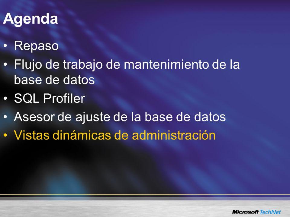 Vistas dinámicas de administración Vistas y funciones Proporcionan acceso a la información acerca del estado del servidor, incluyendo –Bloqueos –Transacciones –Red y E/S de disco –Memoria Las funciones dinámicas de administración son vistas parametrizadas Utilice DMVs en lugar de los procedimientos almacenados heredados y de las declaraciones DBCC SELECT * FROM sys.dm_db_index_physical_stats(…) DBCC SHOWCONTIG(…) SELECT * FROM sys.dm_tran_locks EXEC sp_lock