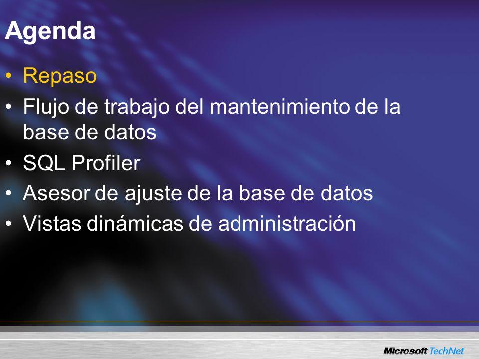 Repaso SQL Server Management Studio Bases de datos relacionales, Servicios de análisis, Servicios de informes, Servicios de notificación SQL Mobile Múltiples versiones de SQL Server desde una interfaz Mantener el rendimiento y reducir la contención Administrar múltiples servidores, muchos objetos Varios cuadros de diálogo de instancias Filtro de objetos Administración y autoría enriquecidas Operaciones: SQL Profiler, Tuning Advisor, Query Analyzer
