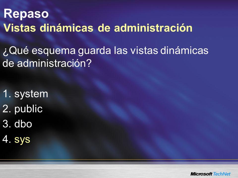 Consulta: ¿Debe estar en la base de datos maestra para consultar las vistas dinámicas...