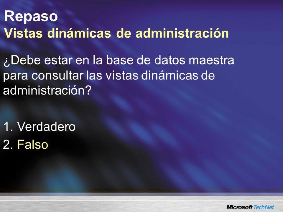 Resumen de la sesión Herramientas para dar mantenimiento, ajustar y supervisar las bases de datos –Asistente y diseñador del plan de mantenimiento –SQL Profiler –Asesor de ajuste de la base de datos –Vistas dinámicas de administración