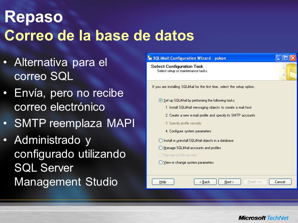 Repaso SQL Configuration Manager Utilidad para administrar los servicios y conectividad de SQL Server –Controla los servicios –Configura los protocolos de la red del servidor –Configura los protocolos de la red del cliente