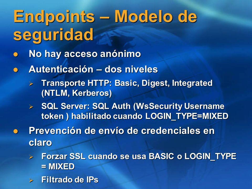 Solicitud WSDL Describe la aplicaci ó n (servicios) que el endpoint expone Describe la aplicaci ó n (servicios) que el endpoint expone Solicitud del WSDL Solicitud del WSDL http:// : / ?WSDL http:// : / ?WSDL http://myserver/sql/demo?wsdl http://myserver/sql/demo?wsdl http://myserver/sql/demo?wsdl