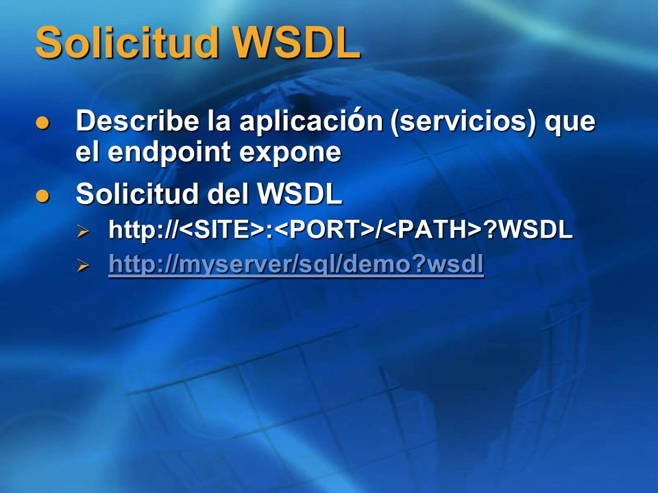 Crear Endpoint, solicitar WSDL