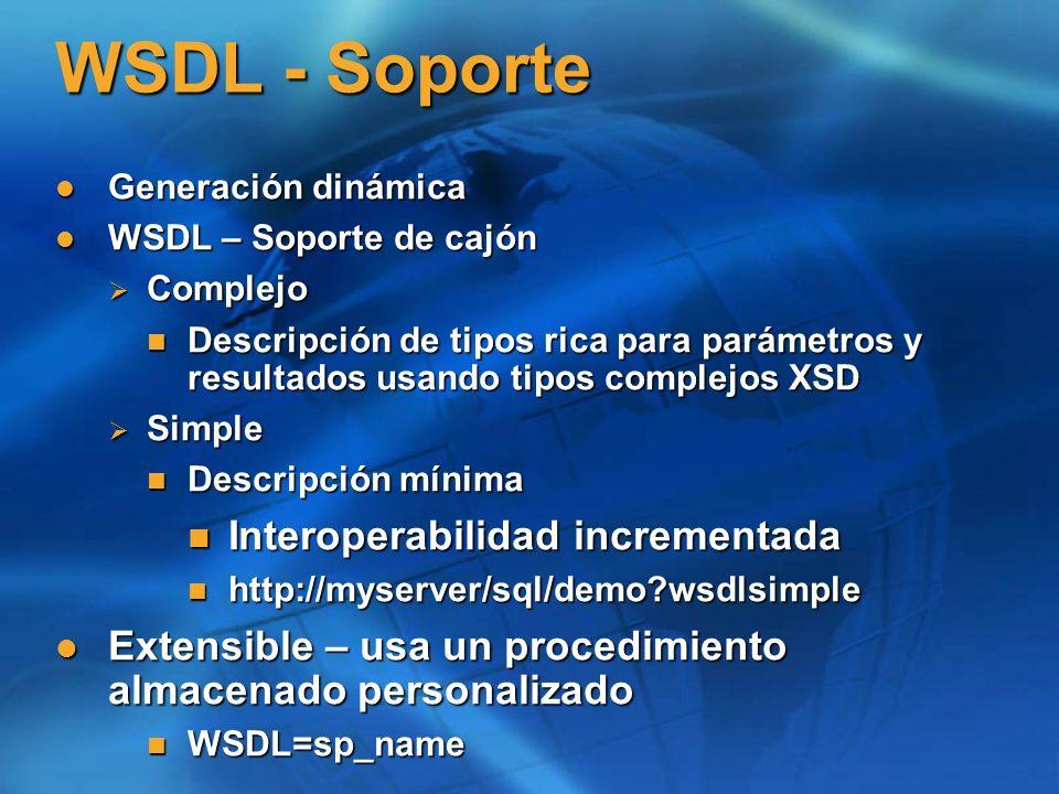 Solicitud SOAP - Lote SELECT EmployeeID, LoginID, Gender FROM Employee Where EmployeeID=@x ; SELECT EmployeeID, LoginID, Gender FROM Employee Where EmployeeID=@x ;</BatchCommands> <Parameters> 1 1 </SqlParameter> </Parameters></sqlbatch> Equivalente en TDS a la declaración de parámetros invocando a sp_executesql