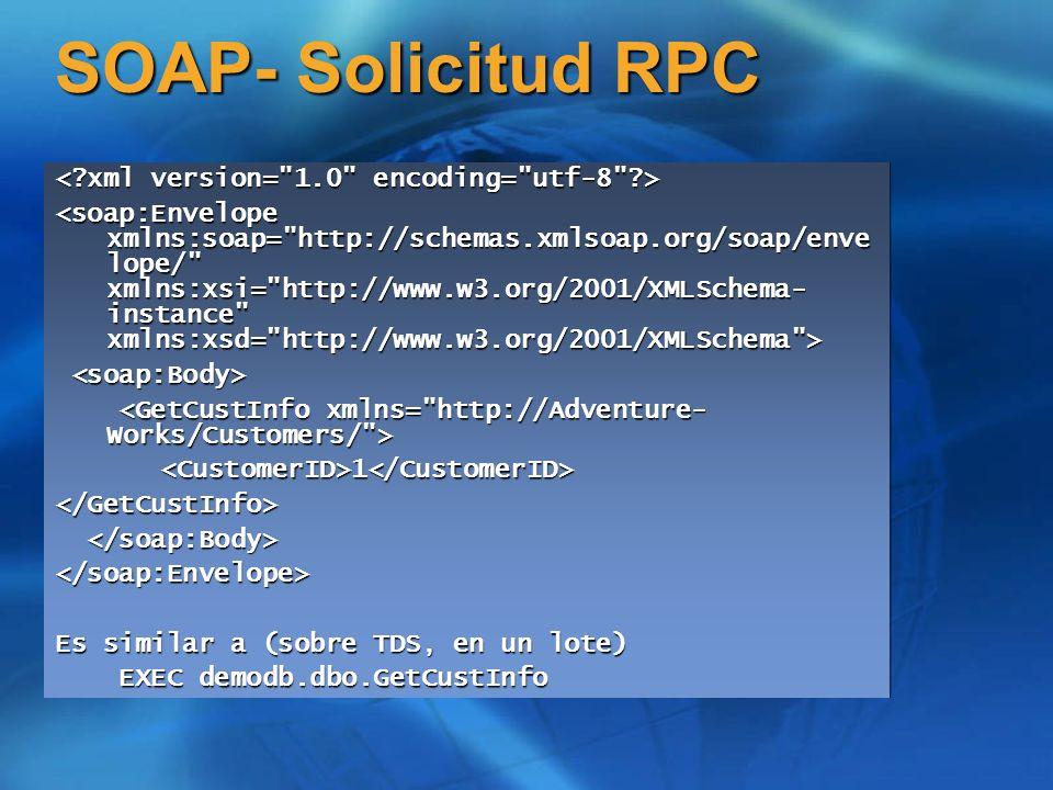 Respuestas SOAP Las User Defined Functions son sencillas Las User Defined Functions son sencillas Por ejemplo, un valor de retorno de una nvarchar(100) se mapea a una string, con una longitud máxima de 100 Por ejemplo, un valor de retorno de una nvarchar(100) se mapea a una string, con una longitud máxima de 100 Los procedimientos almacenados son más difíciles Los procedimientos almacenados son más difíciles No hay un esquema fijo para lo que se devuelve.