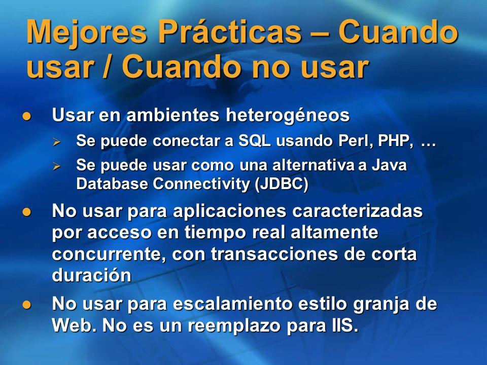 Pruebas de interoperabilidad WSI-BP WSI-BP Jbuilder 9 Jbuilder 9 Perl Perl Glue Glue Axis 1.1 Axis 1.1 WASP WASP VS.Net (RTM/Everett, Whidbey) VS.Net (RTM/Everett, Whidbey) Soap Toolkit 3.0 Soap Toolkit 3.0