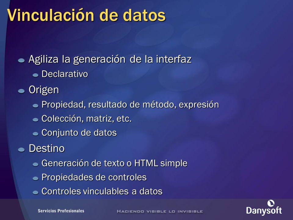 Generación de texto o HTML Propiedad o campo Cliente: Cliente: Método Edad: Edad: Expresión Contacto: Contacto: Método DataBind de la página