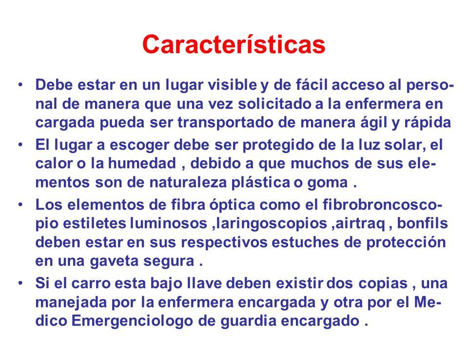 Funcionabilidad Todos los dispositivos del carro idealmente deben estar estériles y deben ser revisado en numero y funciona- miento.