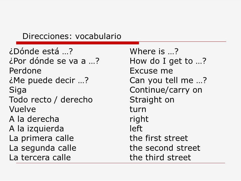¿Dónde está …?Where is ….¿Por dónde se va a …?How do I get to ….