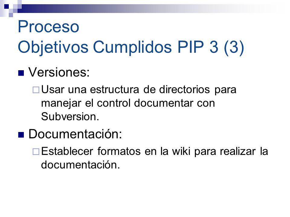 Proceso Objetivos Cumplidos PIP 3 (4) Control y Seguimiento: Dar a conocer los objetivos de la reunión al comienzo de cada una.