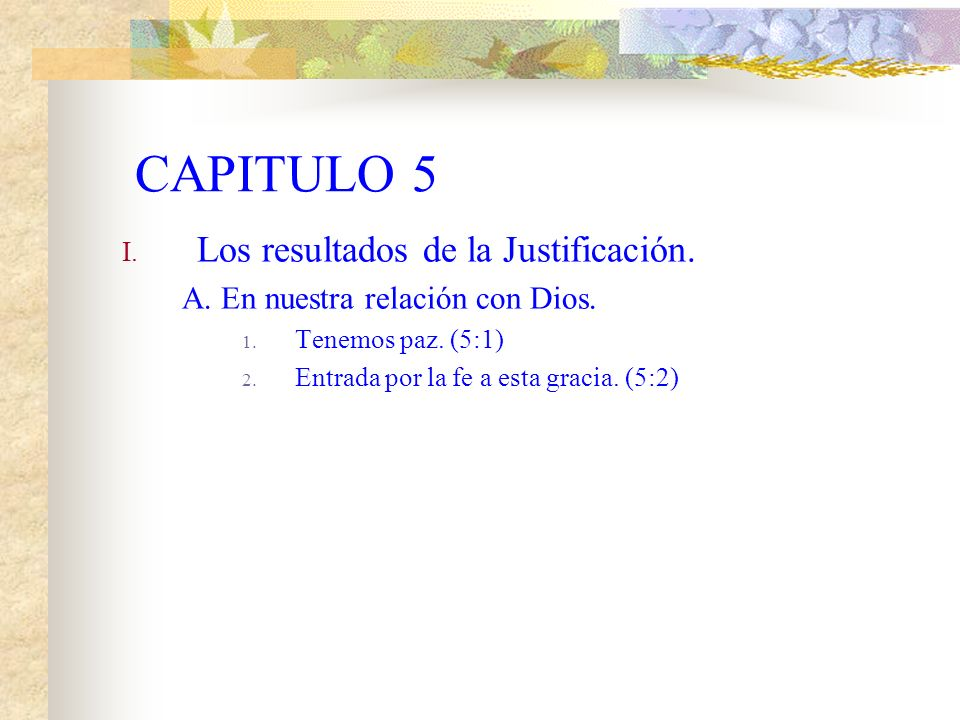 CAPITULO 5 I.Los resultados de la Justificación. A.