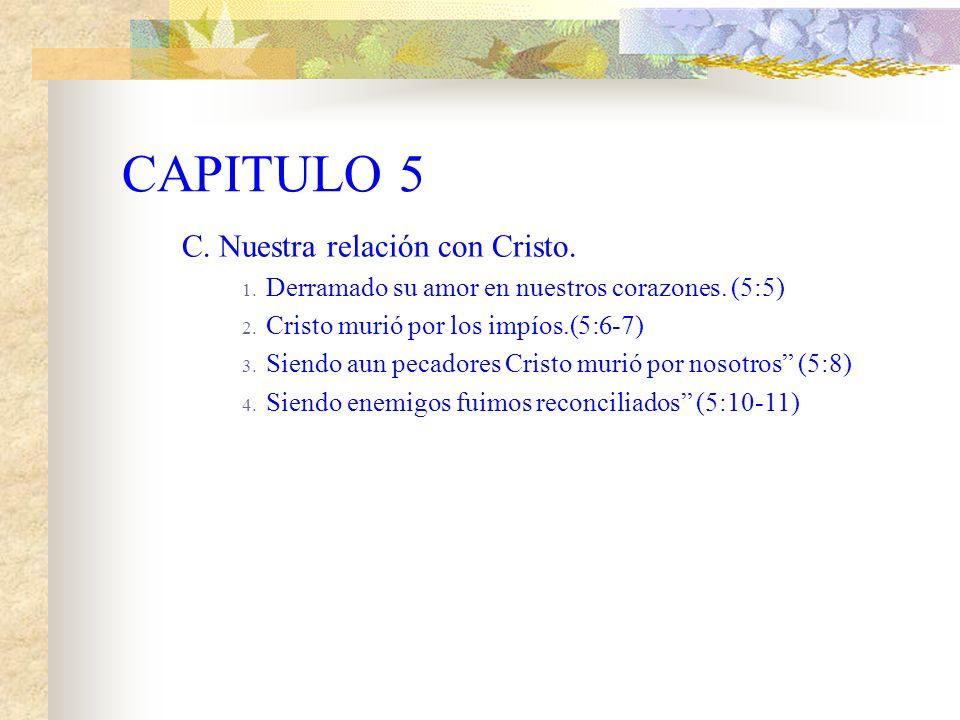 CAPITULO 5 C.Nuestra relación con Cristo. 1. Derramado su amor en nuestros corazones.