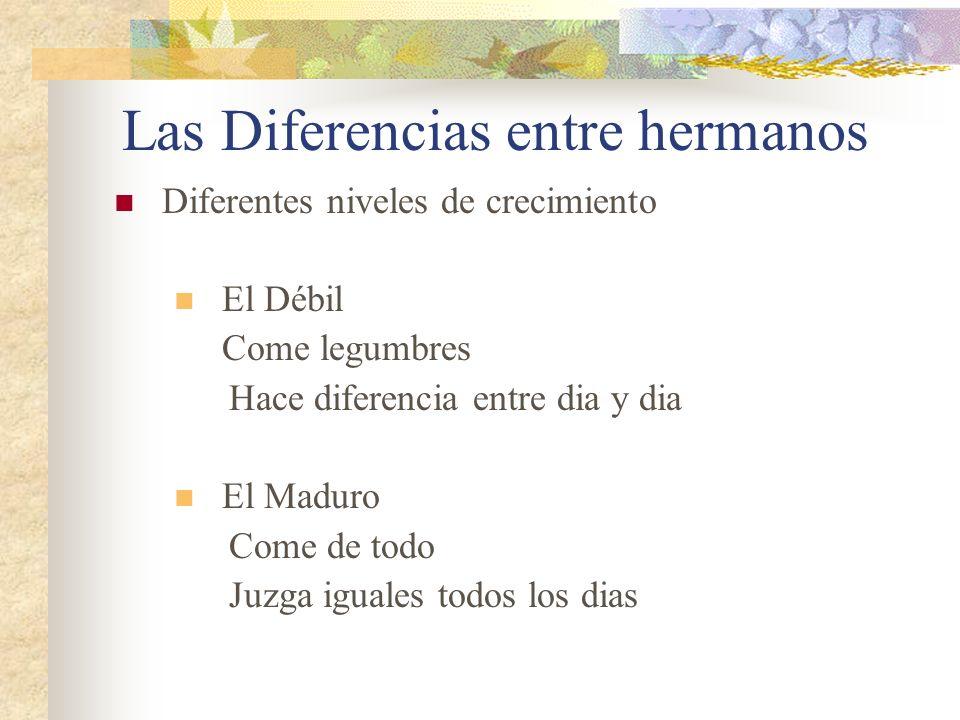 Las Diferencias entre hermanos Diferentes niveles de crecimiento El Débil Come legumbres Hace diferencia entre dia y dia El Maduro Come de todo Juzga iguales todos los dias