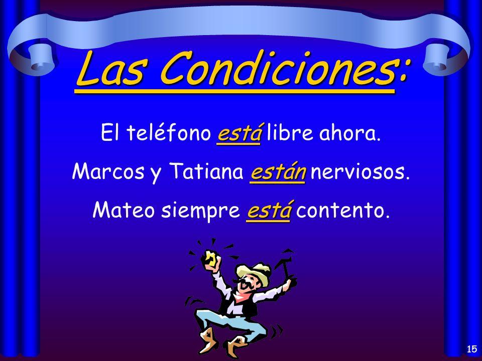 15 Las Condiciones: está El teléfono está libre ahora.