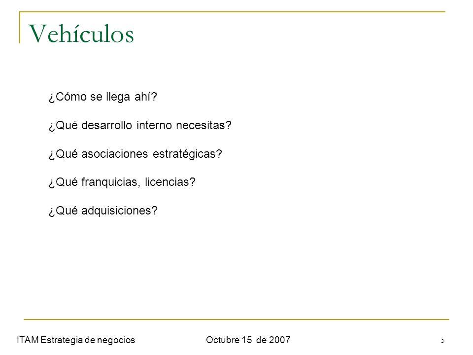 6 Diferenciadores ITAM Estrategia de negociosOctubre 15 de 2007 ¿Cómo se pretende ganar.
